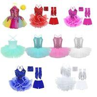 Kid Girl Sequined Ballet Dress Jazz Latin Dance Leotard Halter Dancewear Outfits