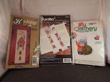 3 counted cross stitch kits-Holiday Bell-Noel & Santa bookmark- 3d boy Ornament