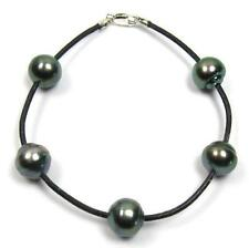 "7.5"" 9-10mm Tahitian Black Pearl Genuine Leather Cord Bracelet"