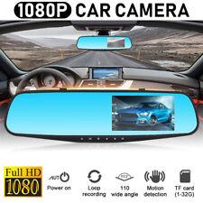 3.5'' 1080P HD Dual Lens Car DVR Rearview Mirror Dash Cam Recorder Camera Kits