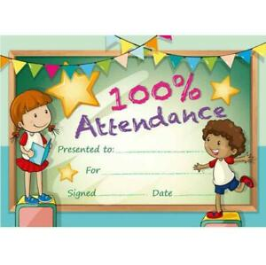 New Teachers School 5497 100% Attendance Certificate (50 per pack)