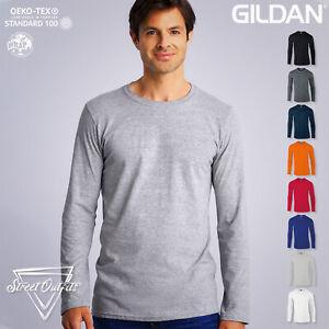 Gildan Mens Long Sleeve T-Shirt Softstyle Ringspun Soft Cotton Plain Top S-2XL