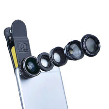 Apexel Cell phone lens 5in1 HD Camera Kit 198° Fisheye +0.63x Wide Angle+15x