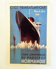 'SS NORMANDIE' Ocean Liner CGT Cruise Ship PAQUEBOT French Line 1994 POSTCARD