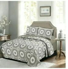 """New Gala King Size Quilt Only in Gray 100% Cotton 106""""×96"""""""