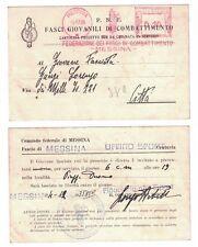 Cartolina PNF Fasci Giovanili di Combattimento FGC Messina Ufficio Sport 1935