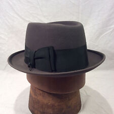 Charcoal Gray Champ Kashmir Finish Pork Pie Men's Vintage Hat with Black Band
