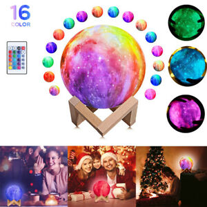 16 Colors Galaxy 3D LED Moon Light Lamp With Stand Night Printing Touch Decor