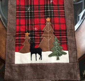 "Christmas Holiday Decor Table Runner Tartan Plaid Cabin Vintage Applique 72""x14"""