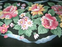 WALLPAPER BORDER Black Pink Roses Flowers Floral Blue Ribbon Cottage EH99866 NIP