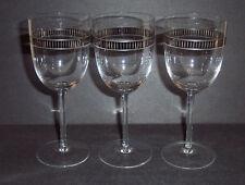 "3 Silver Platinum Striped Band 7.5"" Wine Glasses Unknown Maker"