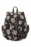 Sugar Candy Mexican Skull Gothic Rockabilly Canvas Backpack Bag Banned Apparel