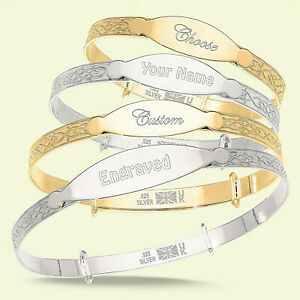 Personalised Engraved Bangle Baby, Children Silver / Gold Bracelet Gift Boxed