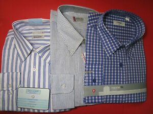 THREE NEW LONG SLEEVE VARIOUS BRANDS AND COLOURS SIZE 46 MENS SHIRTS
