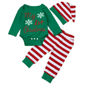 Newborn Baby Christmas Elf Costume Toddler Xmas Top Pants+Hat Fancy Dress Outfit