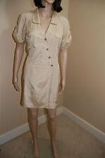 LAUNDRY by Design Short Sleeve Silk/Cotton Button Down Upper Beige Dress~Size 4