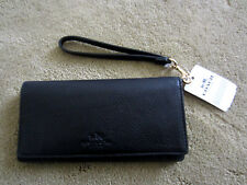 NEW Coach Wallet F53767 Slim Soft Pebble Leather Bifold Multi Compartments Black