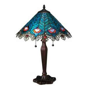 Meyda Lighting 23'H Peacock Feather Lace Table Lamp - 138775