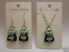 Halloween Count Dracula Earrings or Necklace 925 - Sterling Silver Wires Clip On