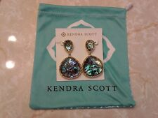 Kendra Scott Abalone Shell Gold Penny Post Drop Earrings Rare HTF Vintage