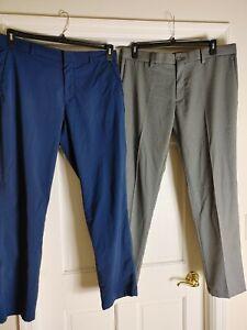 SKECHERS GO GOLF NAVY BLUE PANTS HAGGAR SLIM FIT COOL 18 PRO GRAY GOLF PANTS