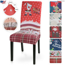 Dining Chair Cover Stretch Spandex Seat Slipcovers Santa Christmas Home Decors