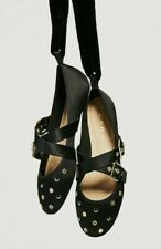 ZARA Black Ballerina Studded Lace Up Flat Round Shoes 39