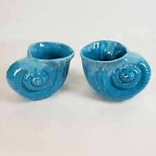 2 Vintage Ceramic Blue Nautilus Seashell Vase Ocean Beach Sea Home Decor Planter