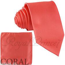 Men's Coral 2.75 Skinny Slim Necktie and Pocket Square Hankie Set Formal Wedding