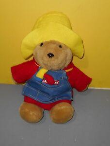 "16"" Paddington Bear Plush Stuffed Animal Sears Craftsman Carpenter Denim Apron"