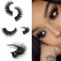 100% Real 3D Mink Makeup Cross False Eyelashes Eye Lashes Extension Handmade x 2