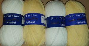 Woolcraft new fashion 100g DK Wool x2 white 2 yellow bundle Knitting & Crochet