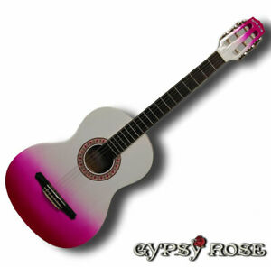 Pink  Guitar Classical Nylon String Gypsy Rose Pack - 7/8 size