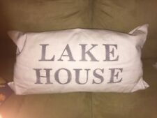 Lake House Pillow 26 X 16 inch White Canvas W/ Grey Lettering lake house summer