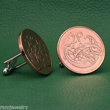 Irish Celtic Bird Coin Cufflinks, 2 Pence Bronze Ireland