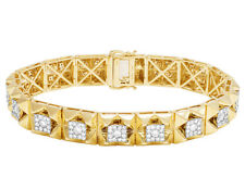 Men's 10k Yellow Gold Real Diamond Square Cluster DESIGNER Bracelet 9 Ct 12.5 Mm