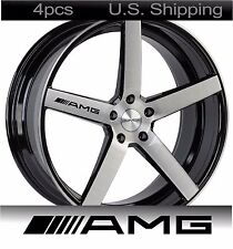4 AMG Stickers Decals Door Handle Wheels Rims Mirror Mercedes Benz Sport BLACK