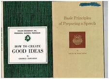 How to Create Good Ideas + Effective Speech + Principles of Preparing a Speech