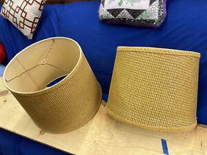 "2 Vintage Retro Lamp Shades Woven Rattan Basket Weave 11.5"" Tall Yellow"