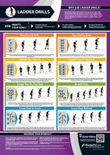 LADDER DRILLS WORKOUT Professional Fitness PosterFit WALL POSTER w/QR Code
