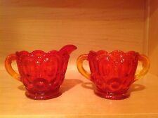 Vintage Sunset - Burnt Orange Colored Carnival Glass Creamer & Sugar Bowl Set