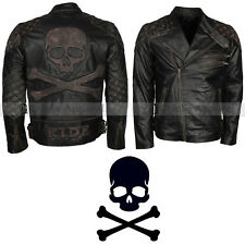 Distressed Skull Embossed Vintage Black Motorcycle Leather Jacket For Mens