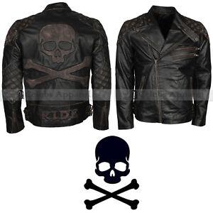 Men Distressed Biker Skull Embossed Black Motorcycle Leather Jacket