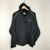Mens Nike Black Embroidered Swoosh Logo Pullover Sports Hoodie Size XL