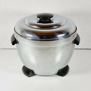 THERMOS Chrome Ice Bucket 1950's Art Deco Vintage Inc Original Liner - Model 925