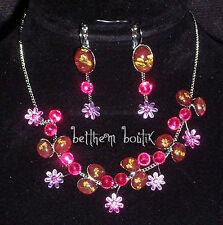 Parure : Collier + Boucles d' Oreille ROSE Fleurs