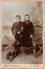Beauty siblings WEIMARANER MAGYAR VIZLA POINTER DOG large CAB cabinet card photo