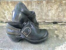 Ariat Clog Shoes Black Leather Amy Braided Weave Buckle Heel Slip On Women's 6 B