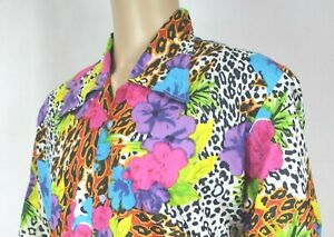 Mens/Ladies Vtg 70s Style Animal /Floral Crazy Festival Stag Ibiza Shirt Large