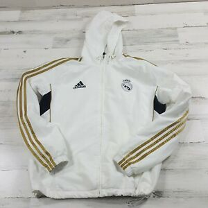 Adidas Men light weight Jacket white Gold Soccer Real Madrid Size Medium track
